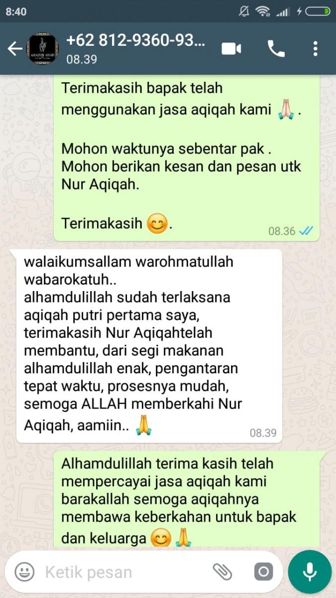 Testimony - Nur Aqiqah, Layanan Aqiqah Keluarga Bahagia